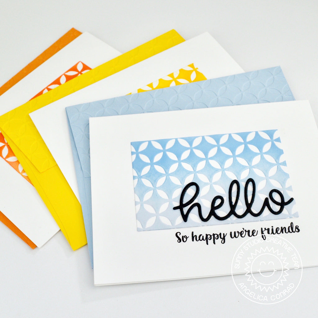 Sunny Studio Stamps Clean and Simple Embossed Handmade Card Set by Angelica (using Moroccan