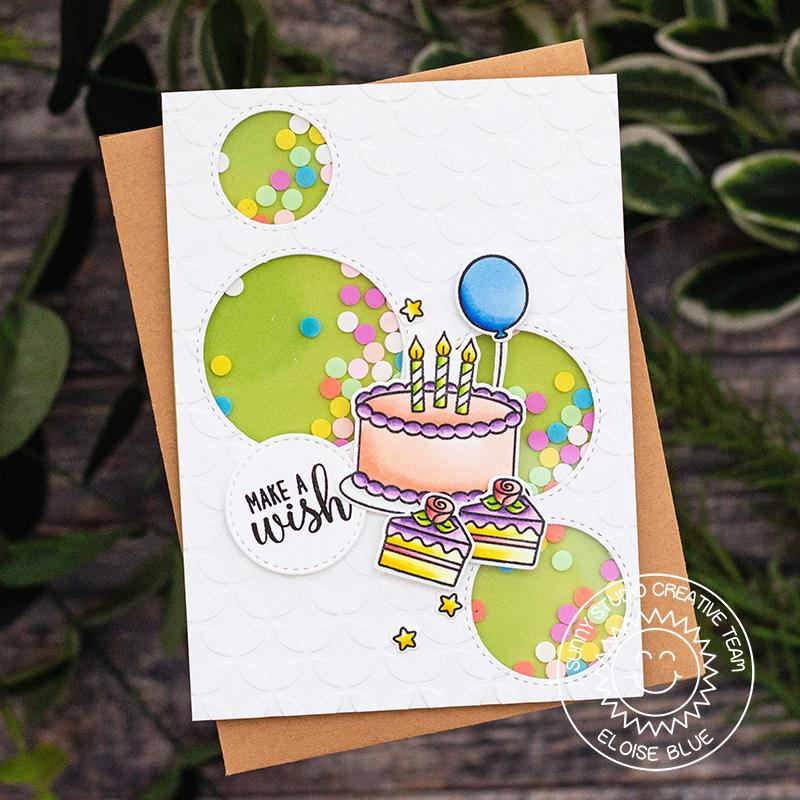 Sunny Studio Stamps Make A Wish Birthday Cake Embossed Shaker Card by Eloise Blue (using Moroccan Circles 6x6 Embossing Folder)