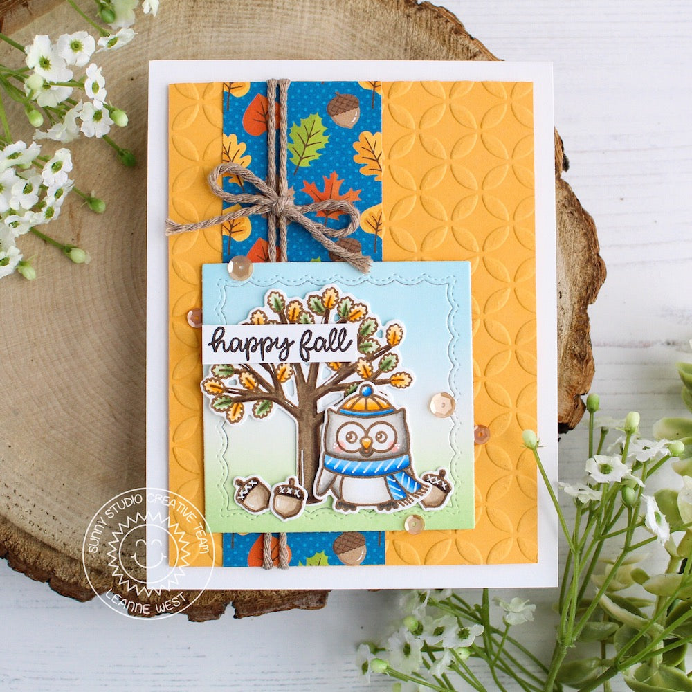 Sunny Studio Stamps Woodsy Autumn Happy Fall Embossed Owl Card (using Moroccan Circles 6x6 Embossing Folder)