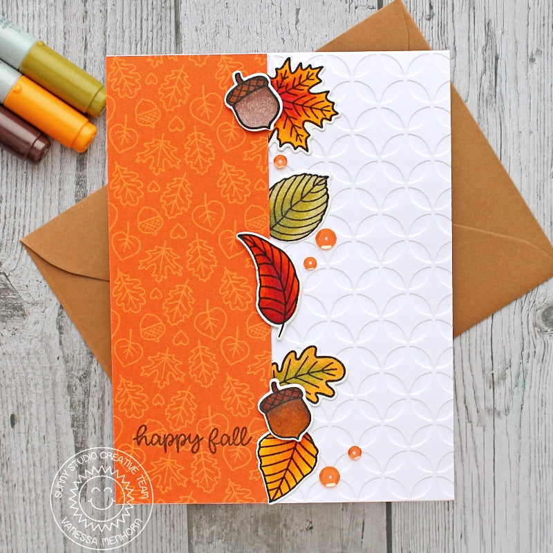 Sunny Studio Stamps Embossed Fall Leaves Handmade Card by Vanessa Menhorn (using Moroccan