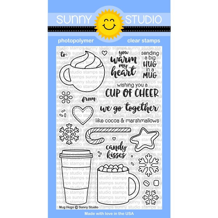 Sunny Studio Stamps Mug Hugs 4x6 Coffee, Hot Cocoa & Latte Photo-Polymer Clear Stamp Set