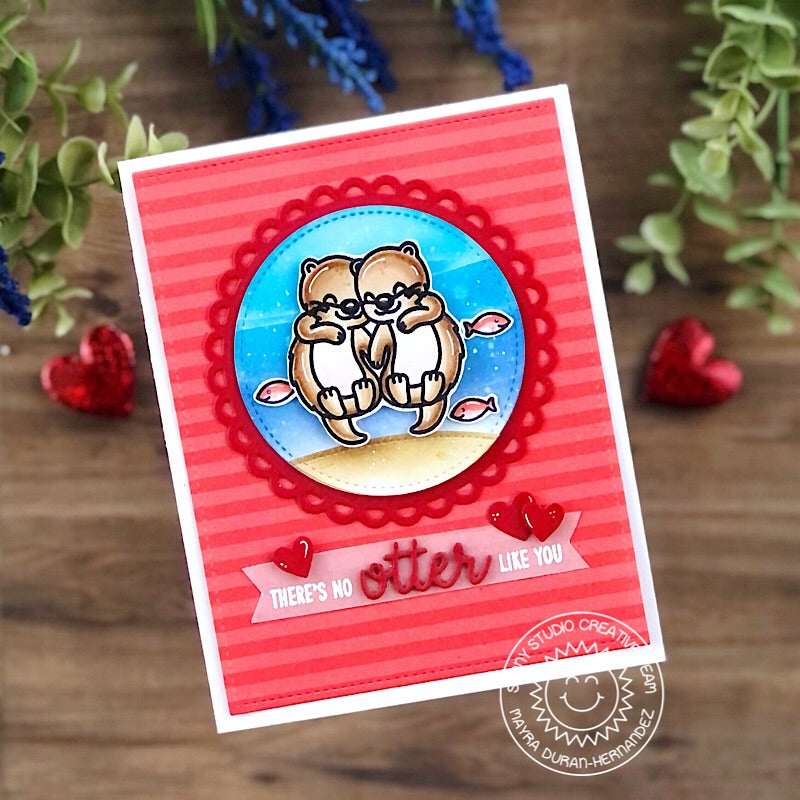 Sunny Studio Stamps There's No Otter Like You Punny Sea Otter Handmade Card (using Scalloped Circle Mat 3 Dies)
