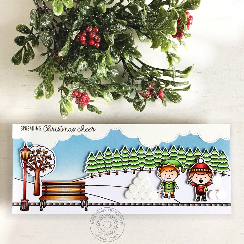 Sunny Studio Spreading Christmas Cheer Elf with Snowball Fight in Park Handmade Slimline Christmas Card (using Spring Scenes Clear 4x6 Stamps)