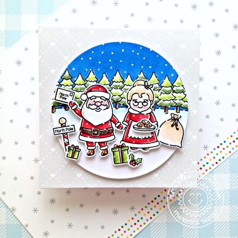 Sunny Studio Santa & Mrs. Claus at the North Pole Handmade Holiday Christmas Card with Fir Tree Border (using Winter Scenes 4x6 Clear Photopolymer Stamps)