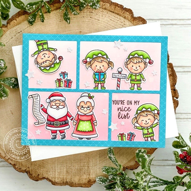 Sunny Studio Stamps You're On My Nice List Santa, Mrs. Claus & Elves Handmade Holiday Christmas Card (using Comic Strip Speech Bubbles Dies)