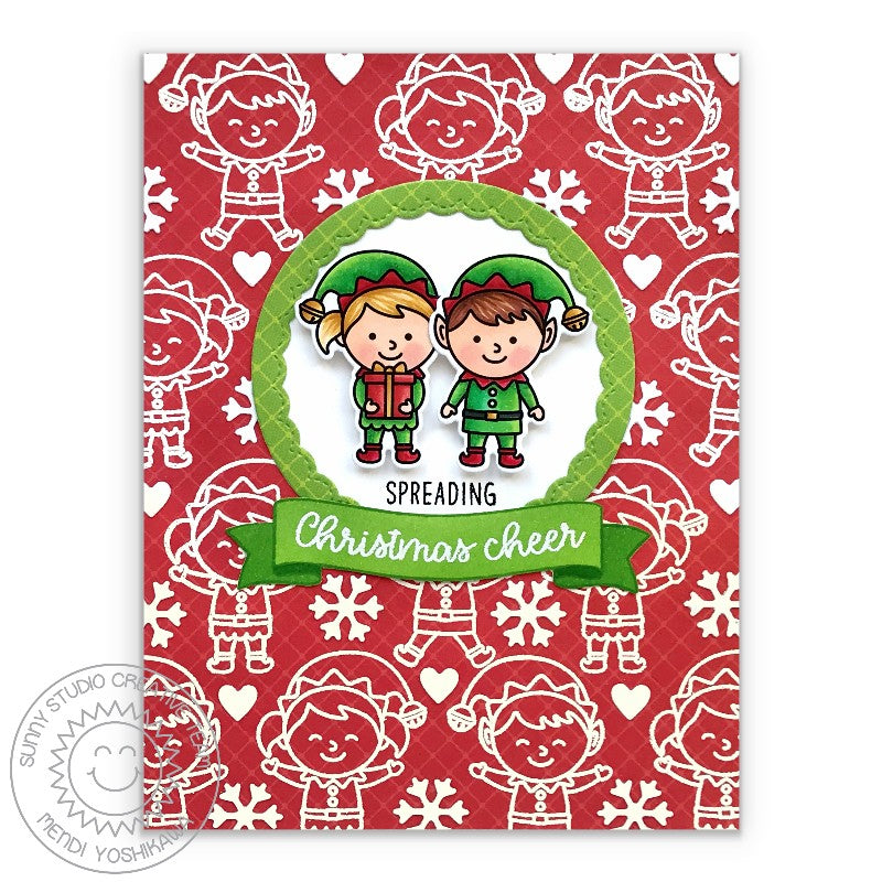 Sunny Studio Stamps Spreading Christmas Cheer Holiday Elf Handmade Card with Red Diagonal Grid Print (using Classic Sunburst 6x6 Patterned Paper Pad)
