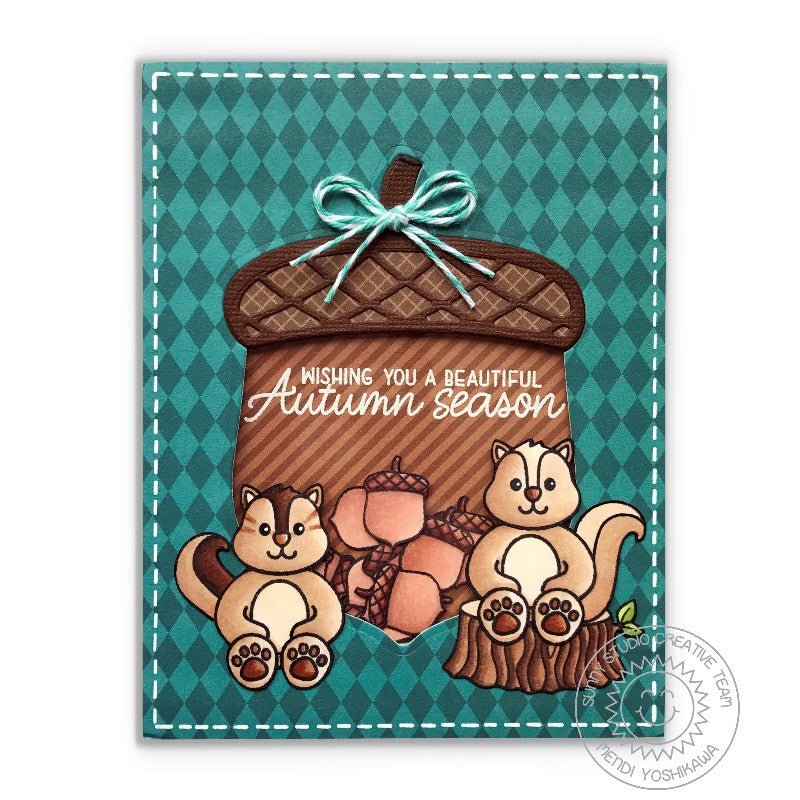 Sunny Studio Stamps Acorn Shaker Card using Beautiful Autumn Stamps