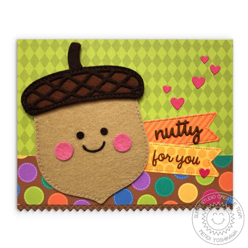Sunny Studio Stamps Felt Acorn Nutty For You Autumn Card by Mendi Yoshikawa