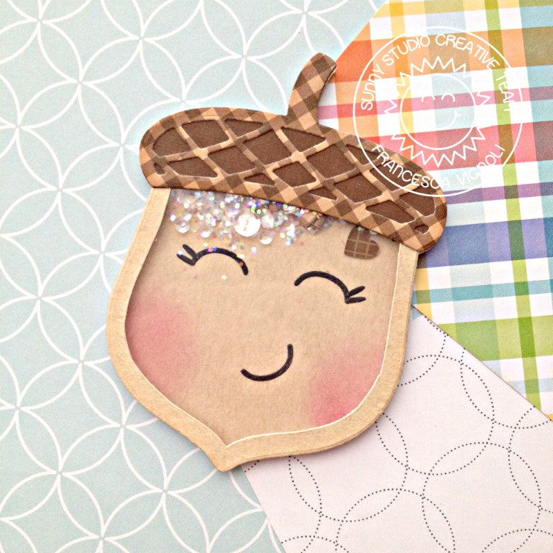 Sunny Studio Stamps Acorn Face Shaker Card (using Nutty For You die)