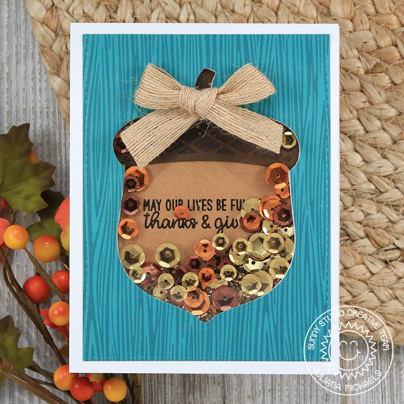 Sunny Studio Stamps Teal Woodgrain Acorn Shaker card (using Amazing Argyle 6x6 Paper Pad)