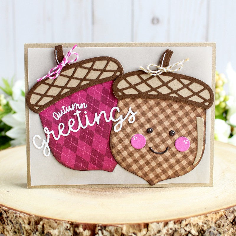 Sunny Studio Stamps Autumn Greetings Gingham & Argyle Acorn Card (using 6x6 Jewel Tones Patterned Paper)