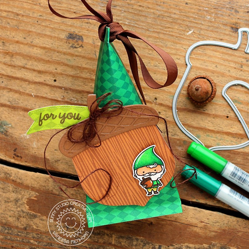 Sunny Studio Stamps Gnome & Acorn Candy Gift Packaging (using Amazing Argyle 6x6 Paper)