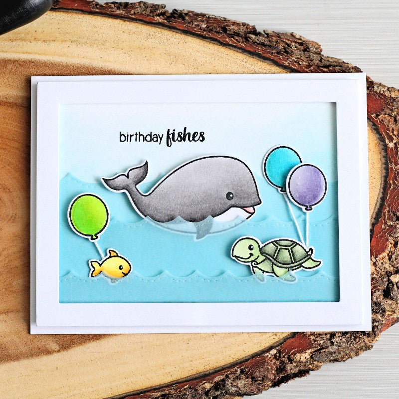 Sunny Studio Stamps Oceans of Joy Birthday Fishes Card