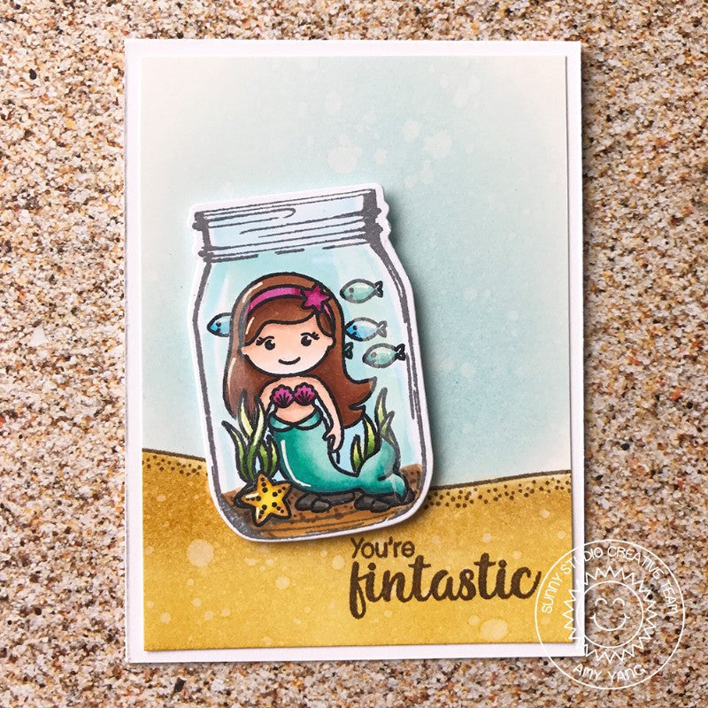 Sunny Studio Stamps Magical Mermaids in a Jar Card