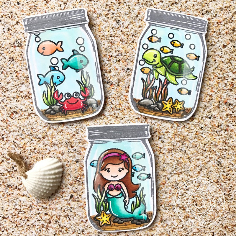 Sunny Studio Stamps Vintage Jar & Oceans of Joy Sea Creatures Gift Tag Cards