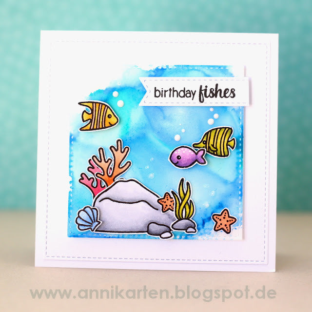 Sunny Studio Stamps Magical Mermaids Birthday Fishes Fish Card