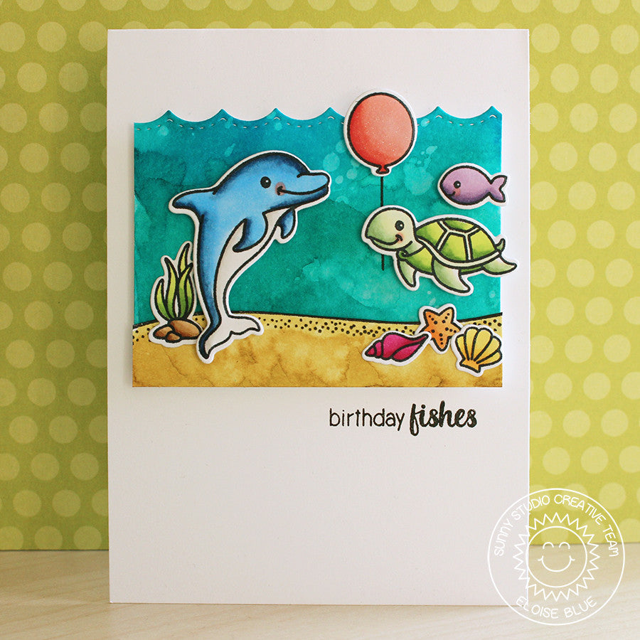 Sunny Studio Stamps Ocean Birthday Card with Stitched Scallop Border dies for waves
