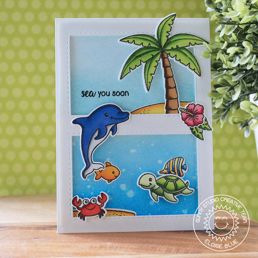 Sunny Studio Stamps Oceans of Joy Under the Sea Shaker Card by Eloise Blue