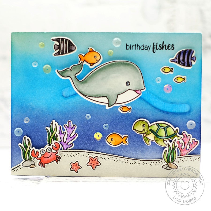 Sunny Studio Oceans of Joy Whale Slider Card