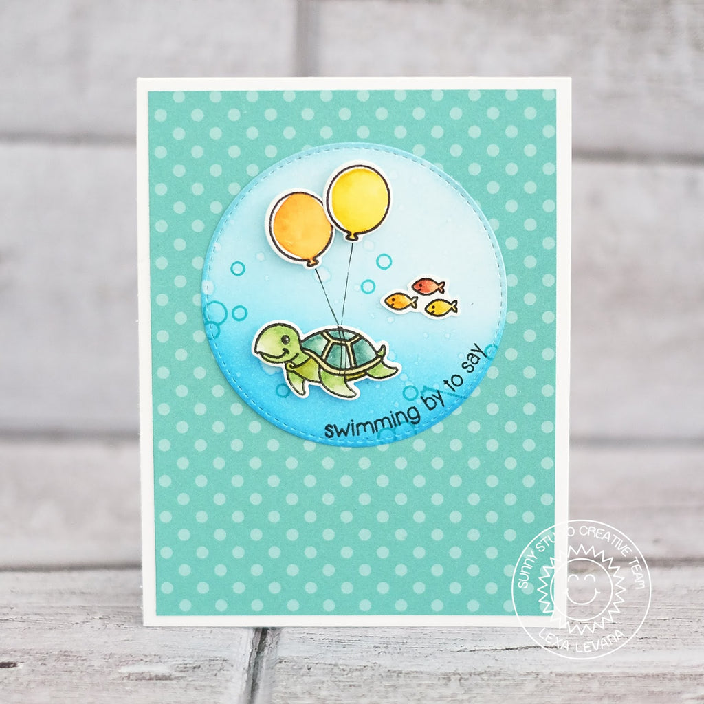 Sunny Studio Stamps Oceans of Joy Turtle with Birthday Balloons Card