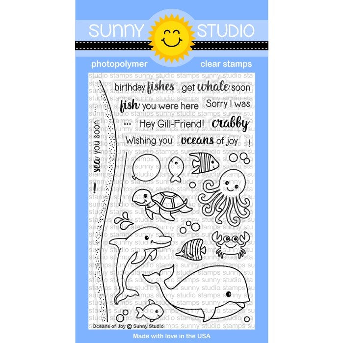 Sunny Studio Stamps Oceans of Joy Sea Creatures Stamp Set
