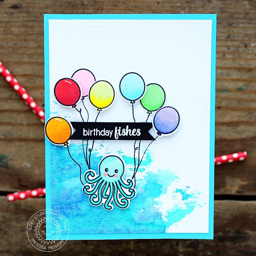 Sunny Studio Stamps A Bird's Life Oceans of Joy Octopus with Balloons Birthday Card