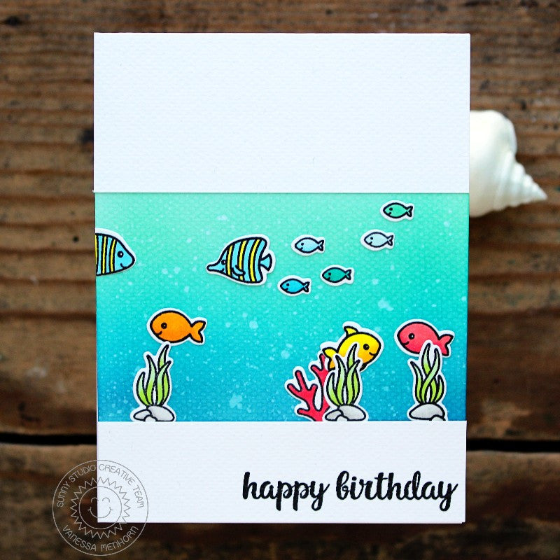 Sunny Studio Stamps Oceans of Joy Aquarium Window Fish Birthday Card