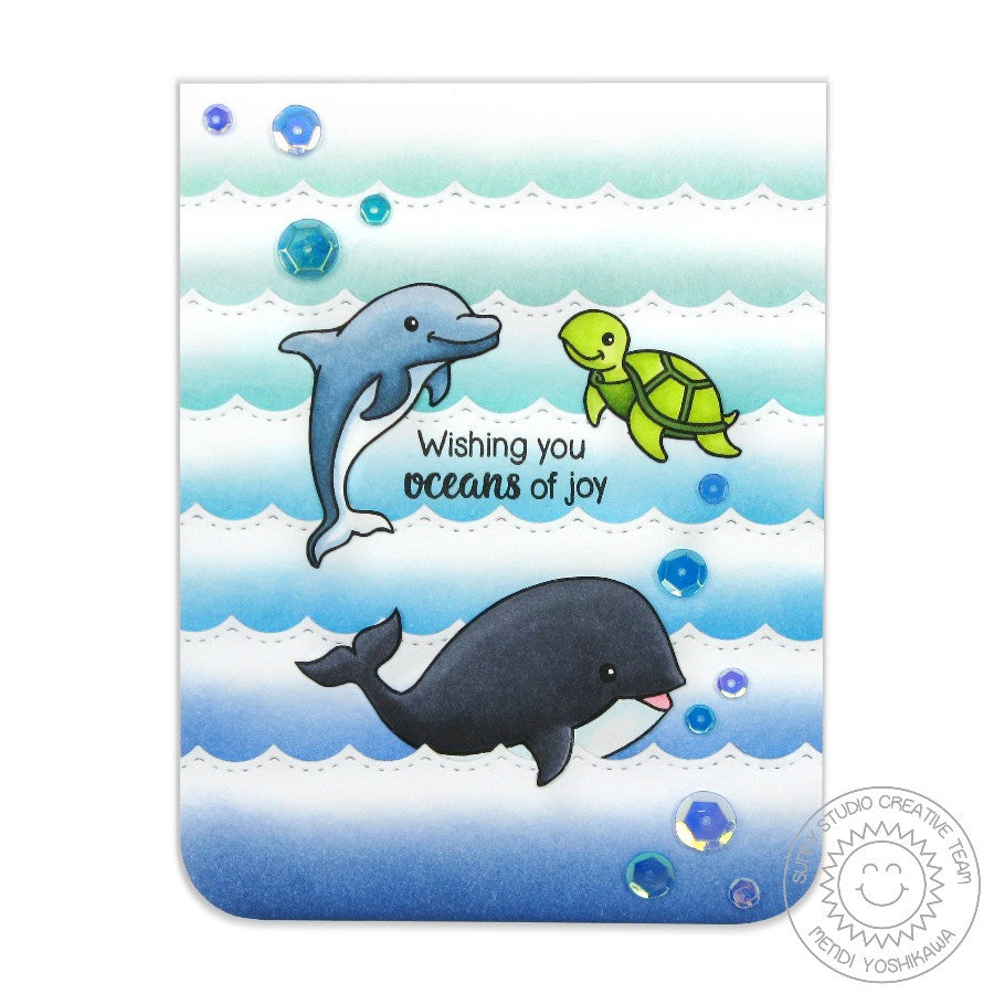 Sunny Studio Stamps Oceans of Joy Dolphin, Whale & Turtle Card (with Ombre Waves)