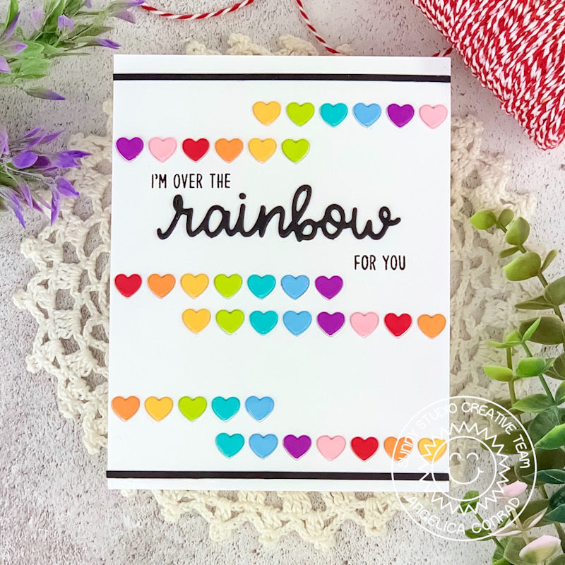 "Sunny Studio Stamps ""I'm Over The Rainbow For You"" Graphic Heart Handmade Card (using Heartstring Border Metal Cutting Dies)"