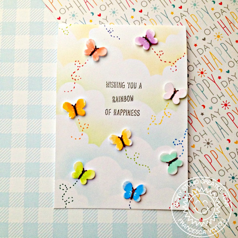Sunny Studio Stamps Wishing You A Rainbow of Happiness Butterfly Card (using Basic Mini Shape II Exclusive Metal Cutting Dies)
