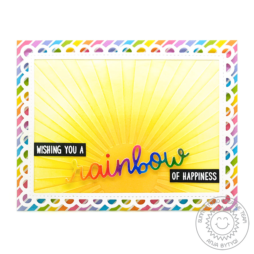 Sunny Studio Stamps Rainbow of Happiness Sunburst Card (using Rainbow Word Die)