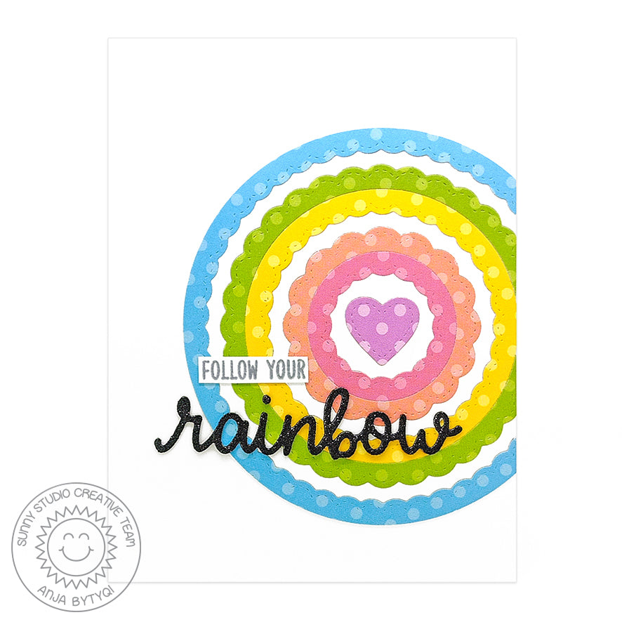 Sunny Studio Stamps Rainbow Scalloped Circle Bulls-eye Card using Fancy Frames dies