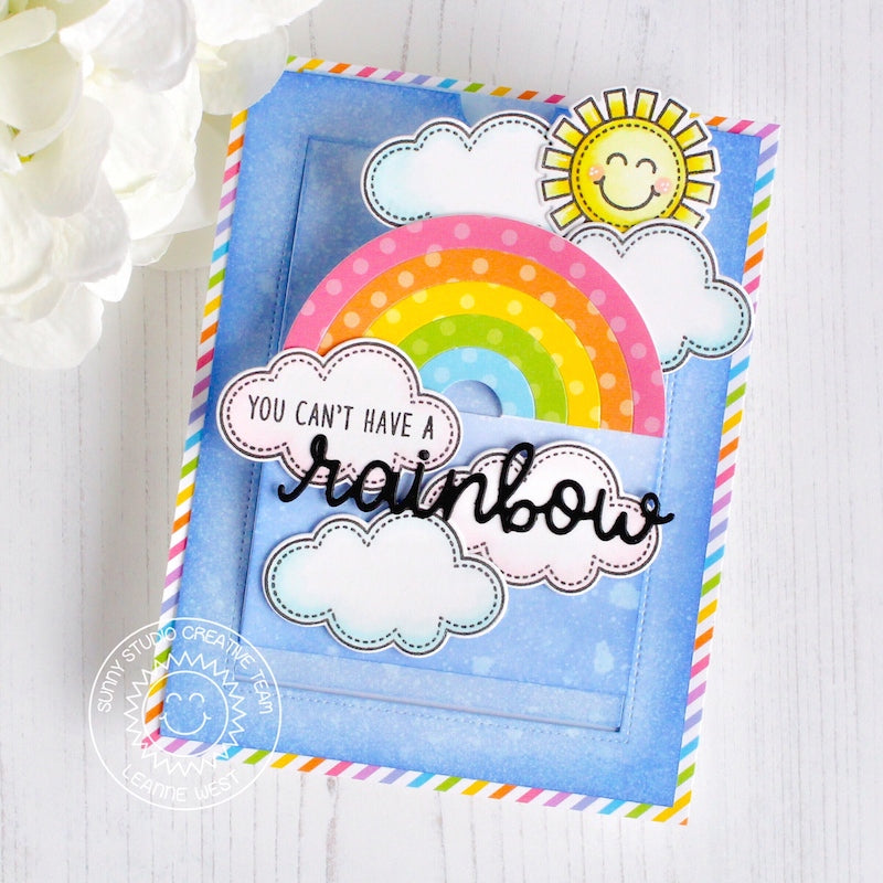Sunny Studio Rainbow Pop-up Sliding Card (using Over The Rainbow Sentiment Stamps)