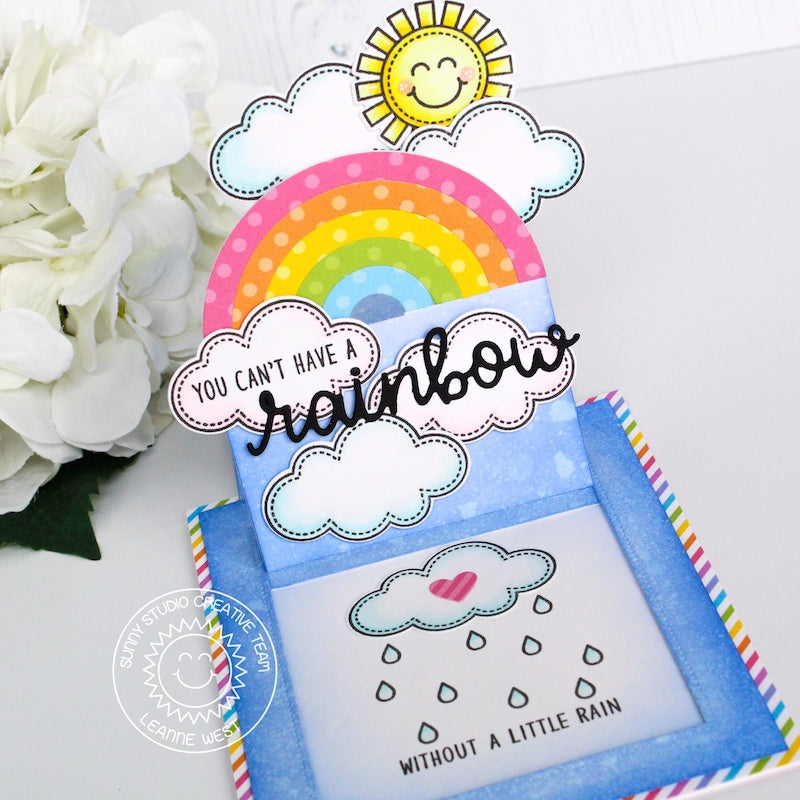 Sunny Studio Stamps You Can't Have A Rainbow Without A Little Rain Card (using Rainbow Scripty Word die)