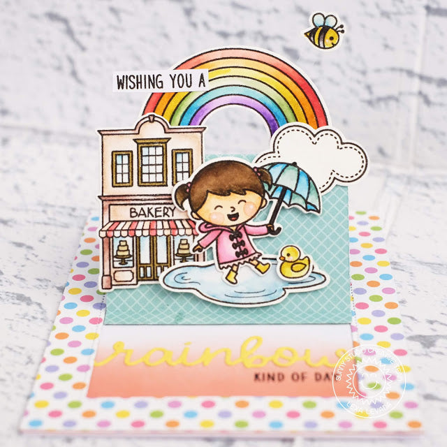 Sunny Studio Stamps Over The Rainbow Girl with Umbrella Pop-up Card (featuring Sliding Window Dies)