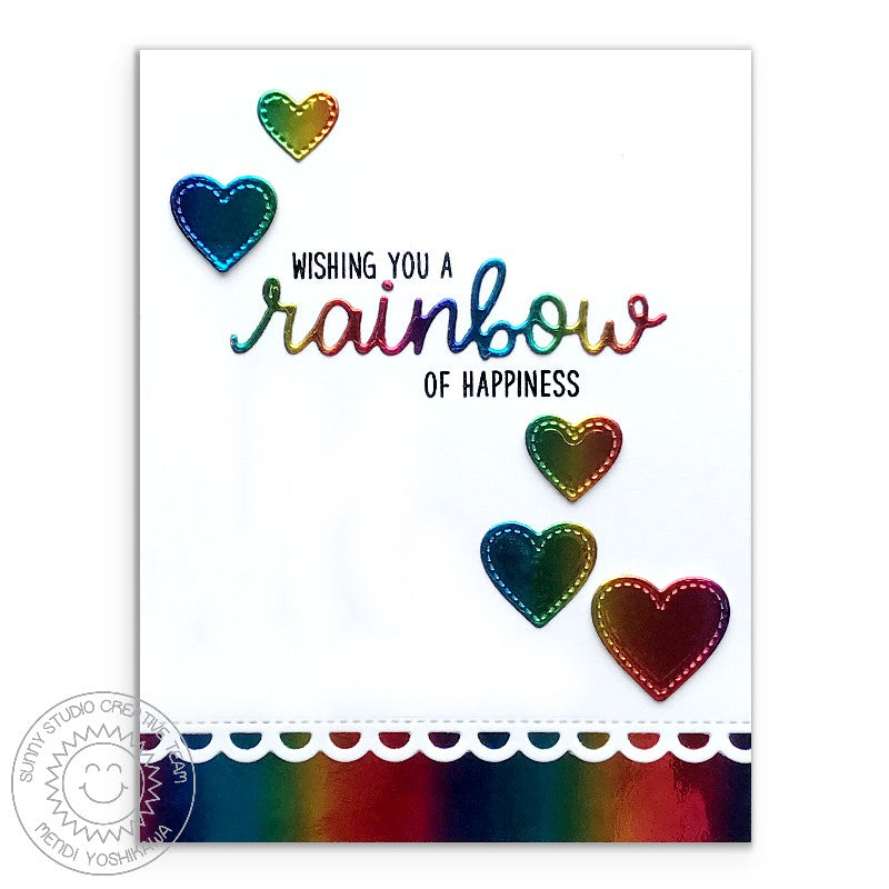 Sunny Studio Stamps Over The Rainbow Metallic Foil Heart Card