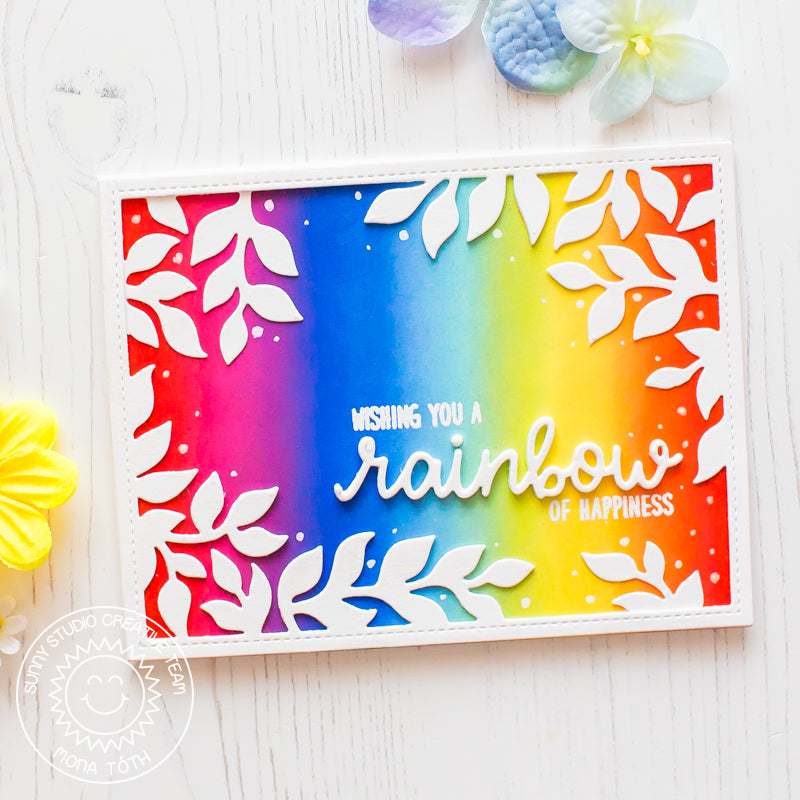 Sunny Studio Stamps Colorful Rainbow Card with Leafy White Border by Mona Toth (using Rainbow Word Die)