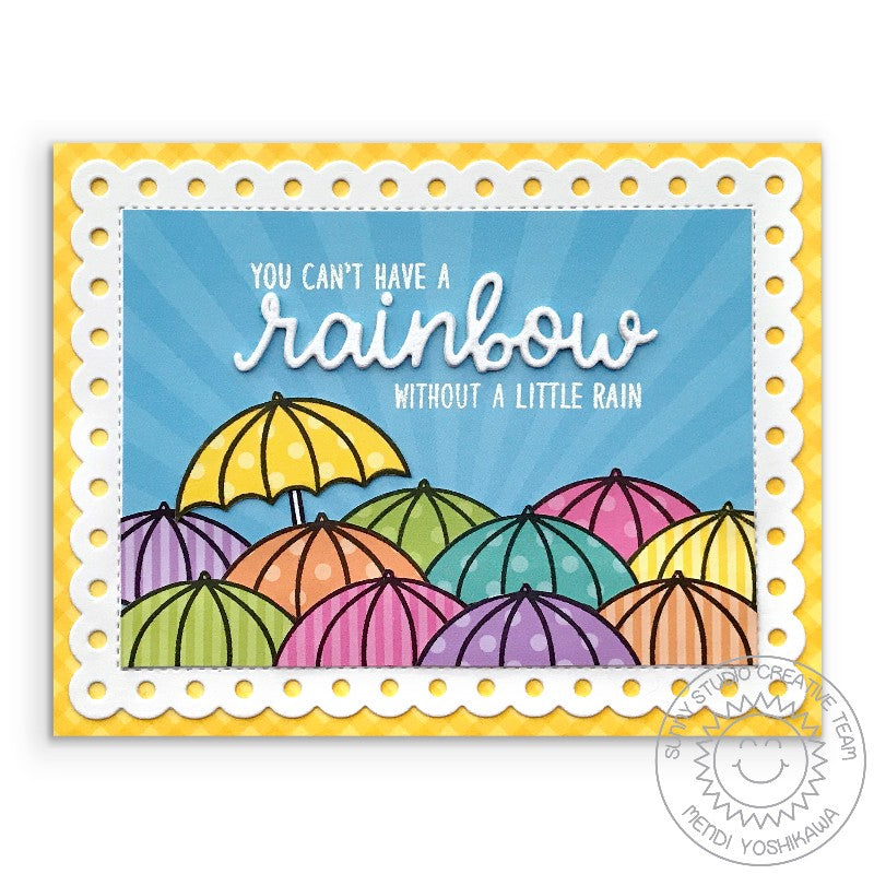 Sunny Studio Stamps Rainbow Umbrella Card with Sun Ray Background (using Spring Sunburst 6x6 Paper Pack)
