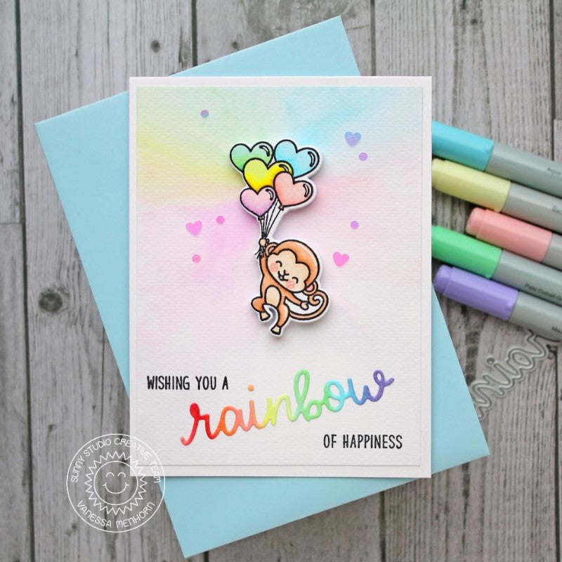 Sunny Studio Stamps Monkey Floating with Rainbow Heart Balloons Card (using Rainbow Word Die)