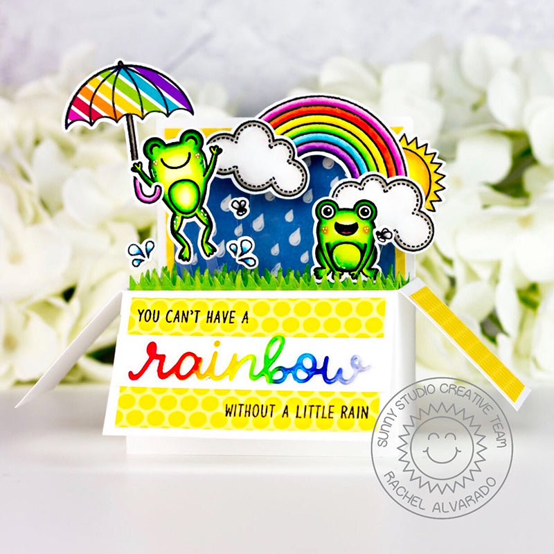 Sunny Studio Stamps Pop-up Box Card with Frogs, Umbrella & Rainbows (featuring Rainbow Word Die)