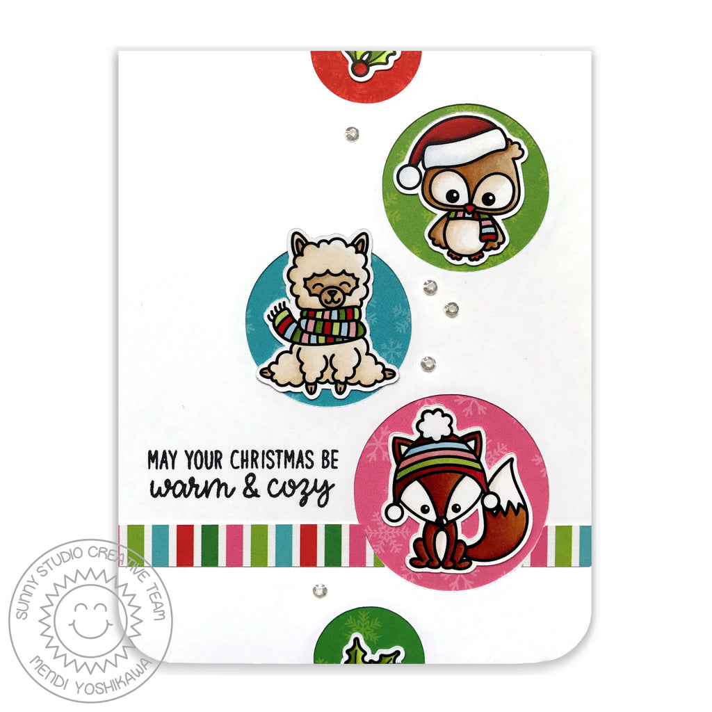 Sunny Studio Stamp Fox, Owl & Alpaca Circle Holiday Christmas Card