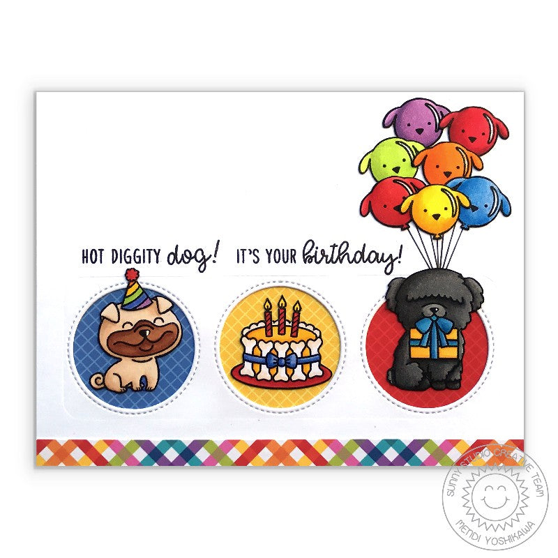 Sunny Studio Puppy Dog Birthday Card (using Rainbow Bright 6x6 Paper)