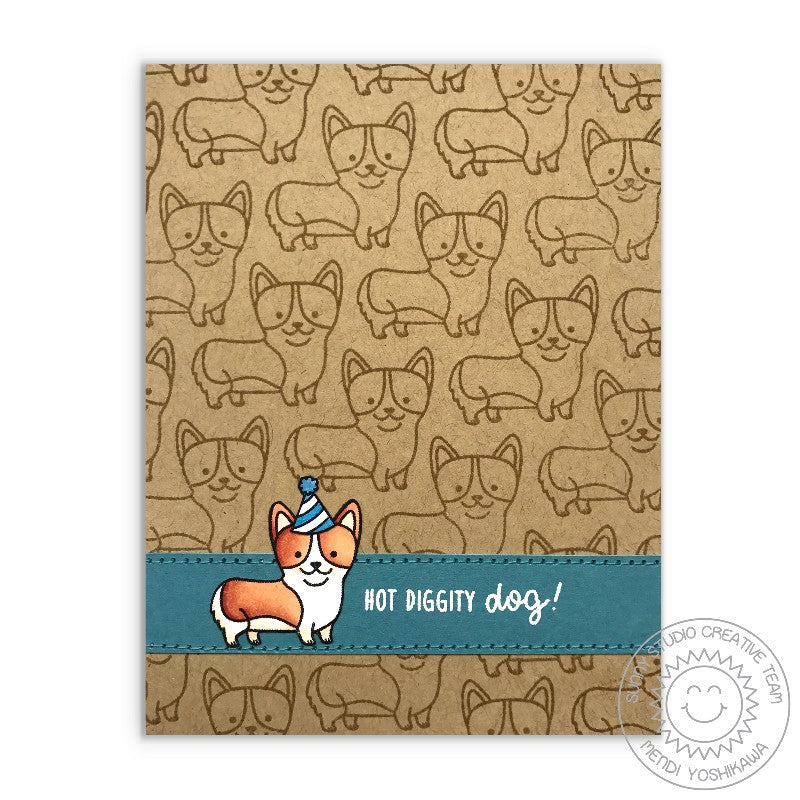 Sunny Studio Stamps Party Pups Corgi Hot Diggity Dog Card