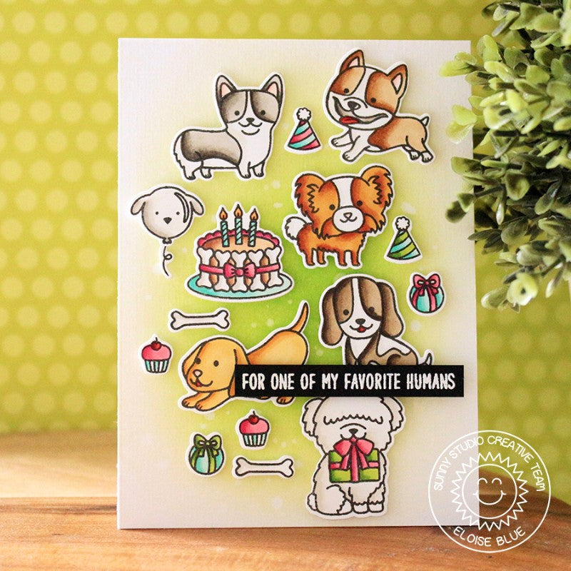 Sunny Studio Stamps Party Pups & Devoted Doggies Tetris Style Dog Birthday Card