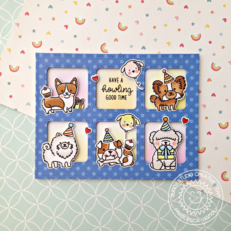 Sunny Studio Stamps Party Pups Dog Birthday Grid Style Card using Window Trio Square dies