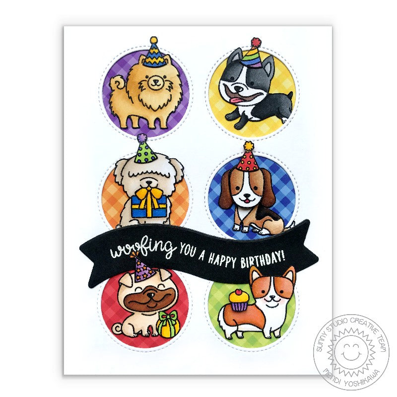 Sunny Studio Stamps: Grid Style Dog Themed Birthday Card using Window Trio Circle Dies