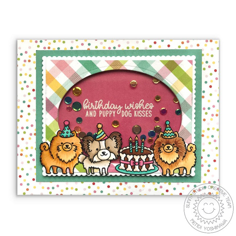Sunny Studio Party Pups Pomeranian & Papillon Birthday Confetti Shaker Card