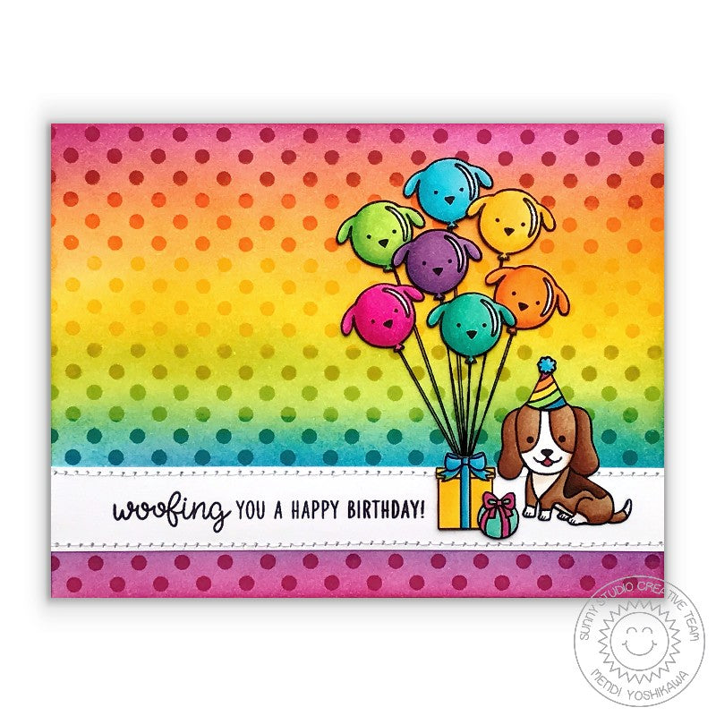 Sunny Studio Stamps Background Basics Rainbow Polka-dot Birthday Card