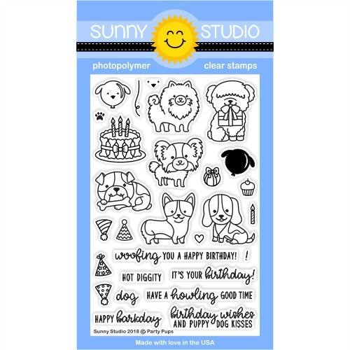 Sunny Studio Stamps Party Pups 4x6 Clear Photopolymer Stamp Set