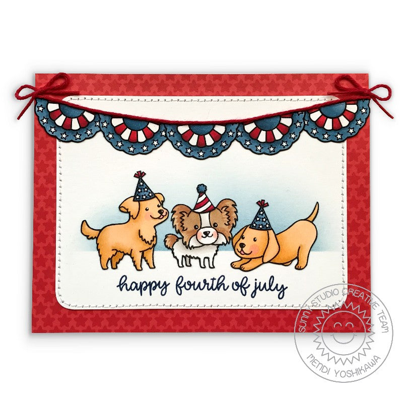 Sunny Studio Stamps Happy Thought Fourth of July Puppy Dog Card by Mendi Yoshikawa